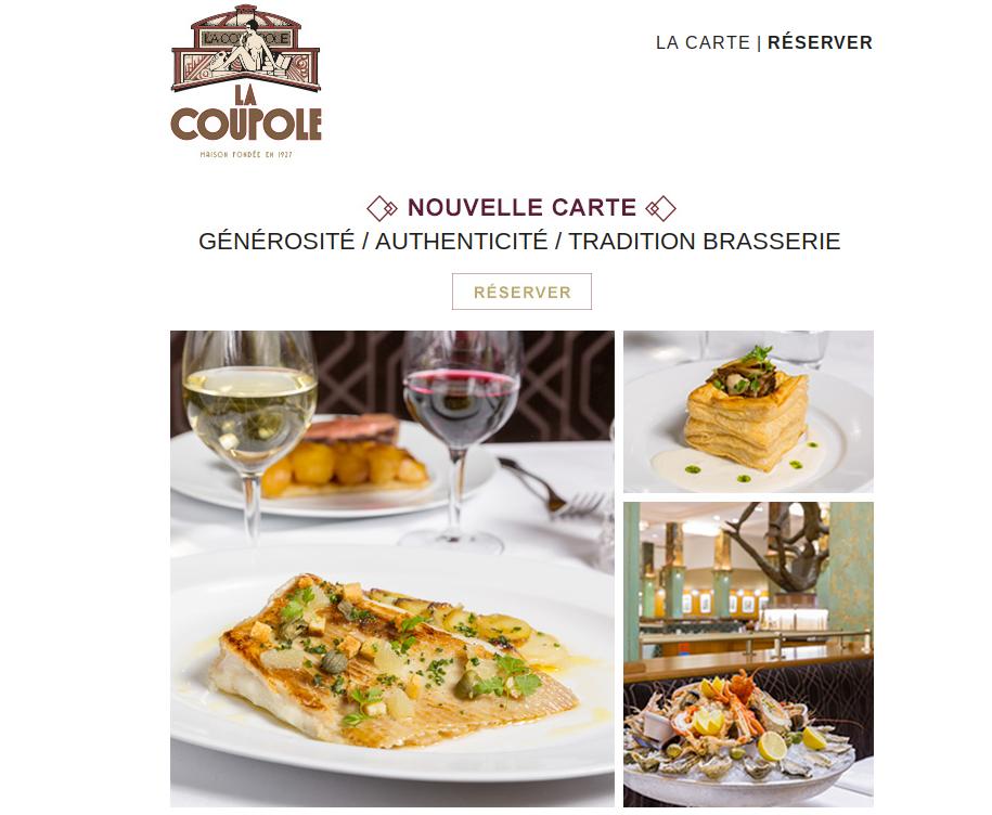 Nouvelle carte 2017 La Coupole, Paris
