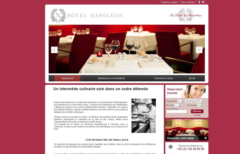 Site internet du restaurant La Table des Maréchaux Fontainebleau