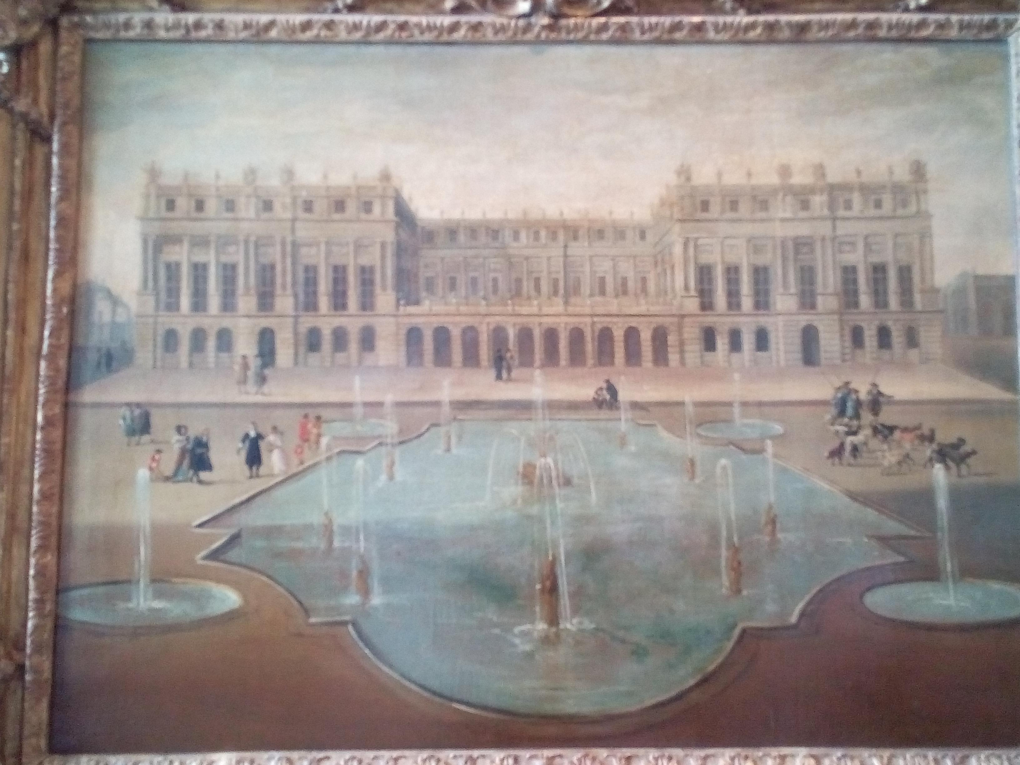 Château de Versailles, Vue du château de Versailles, du côté des jardins en 1675