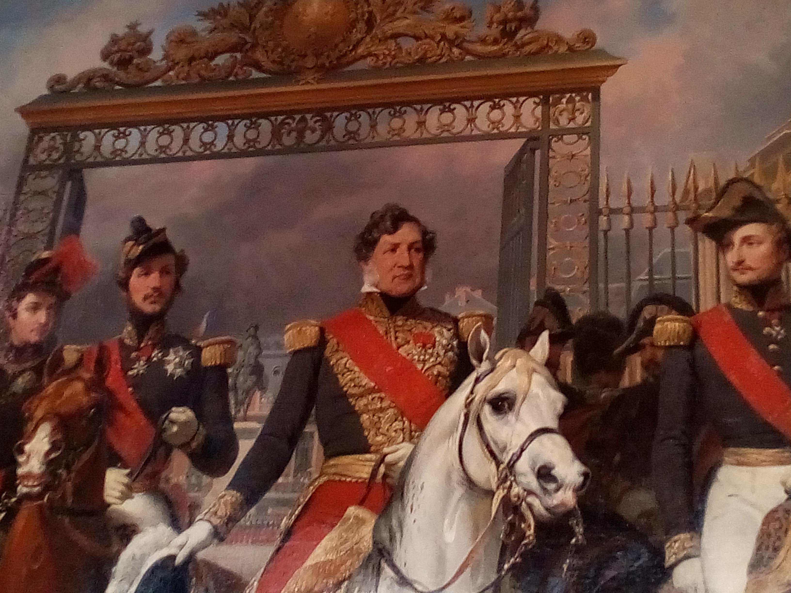 Château de Versailles, aile Nord, Le roi Louis-Philippe entouré de ses cinq fils sortant par la grille d'honneur du château de Versailles après avoir passé une revue militaire dans les cours, 10 juin 1837