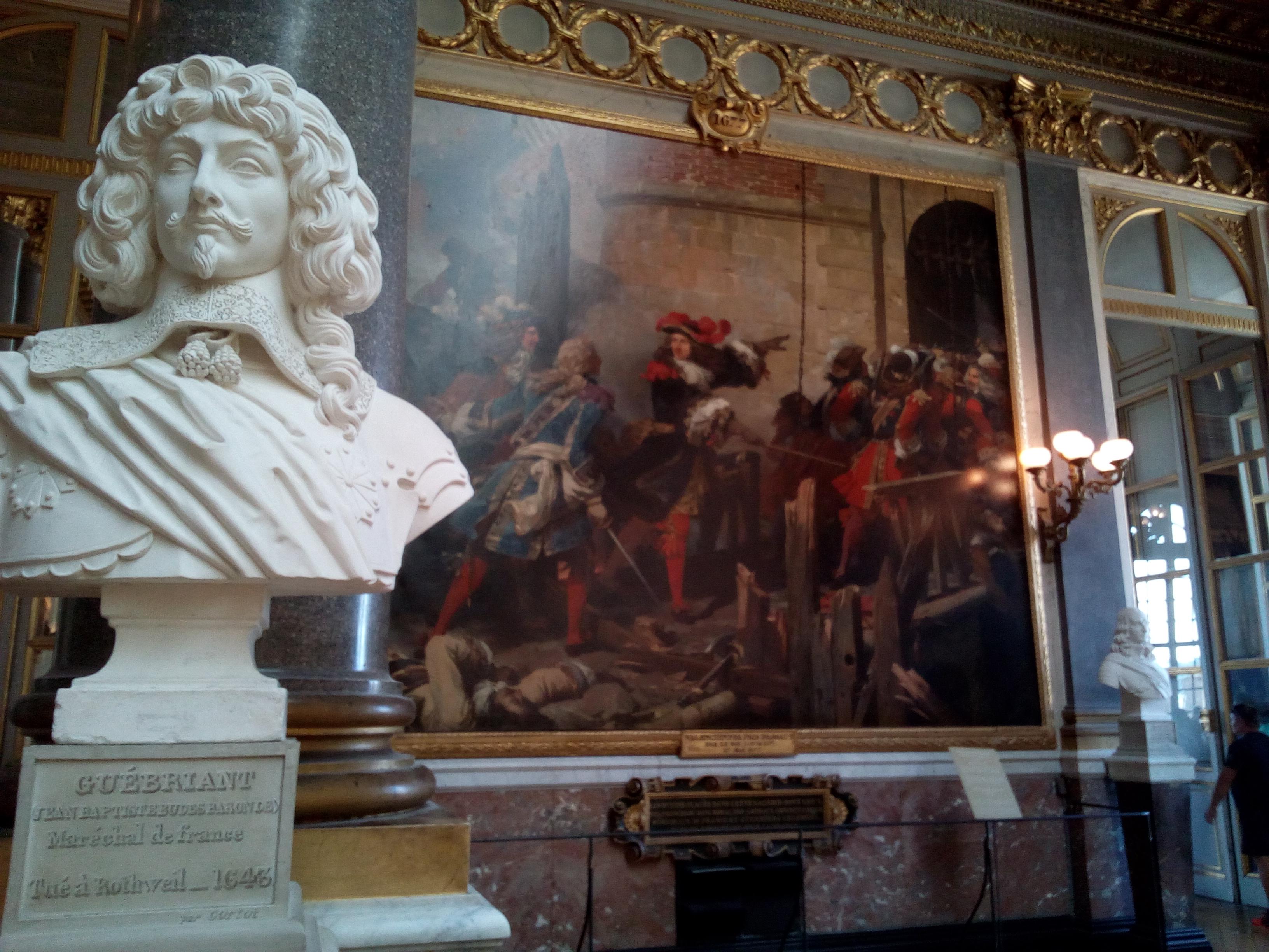 La Galerie des Batailles du château de Versailles, Valenciennes pris d'assaut par le roi (Louis XIV), 17 mai 1677 et buste de Guébriant