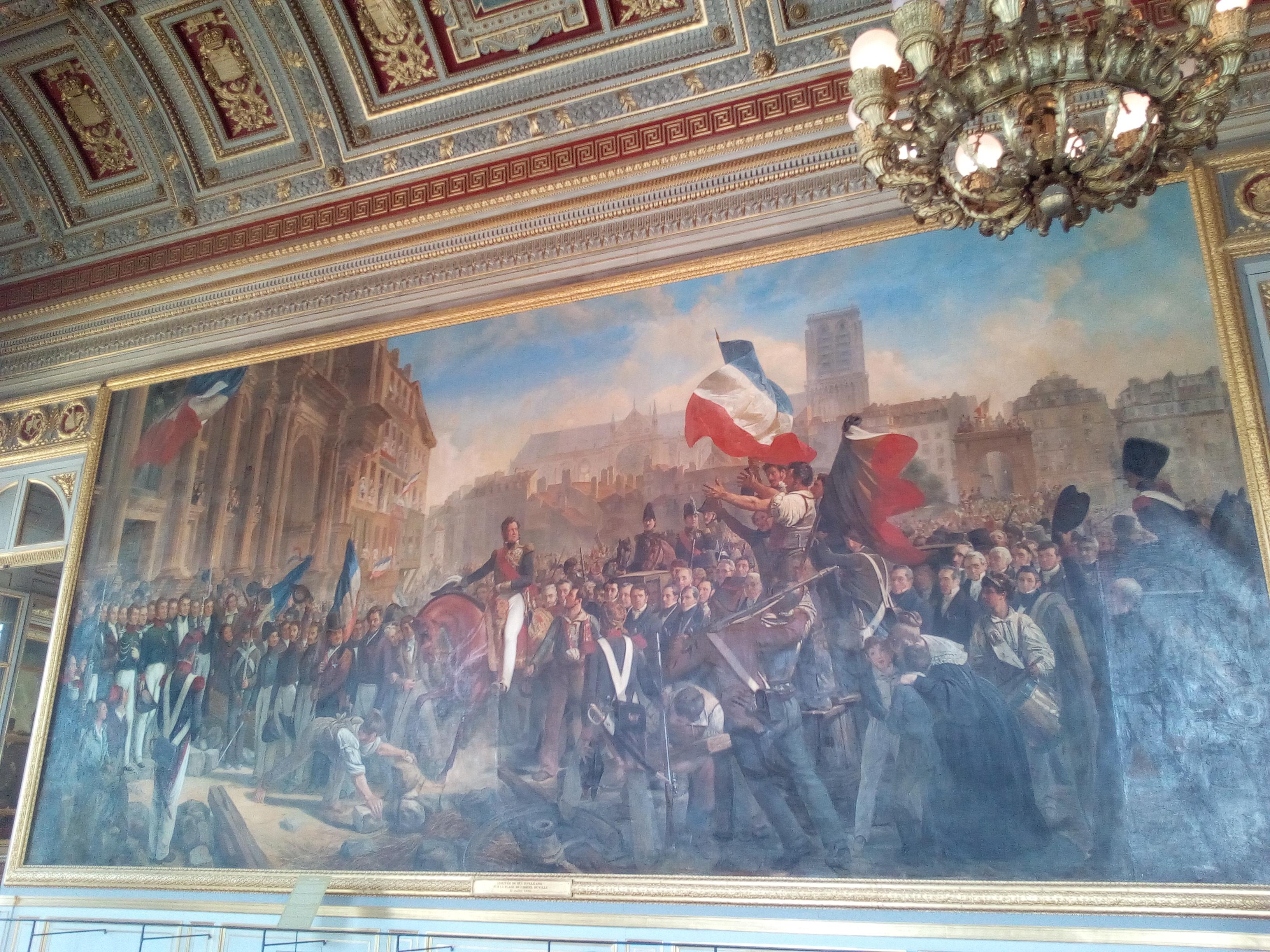 Château de Versailles, Révolution de Juillet 1830, le duc d'Orléans entre à l'Hôtel de ville