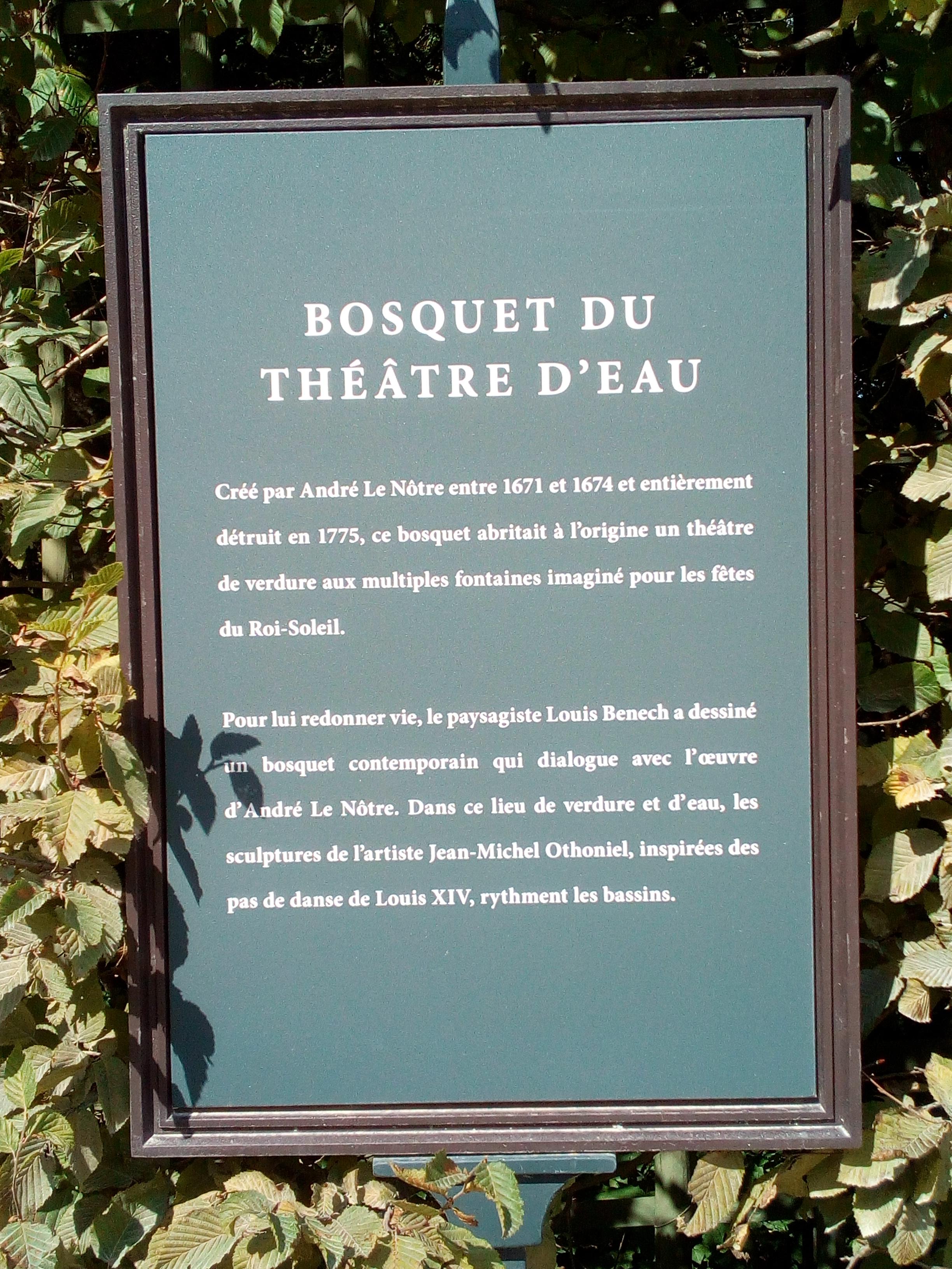 Château de Versailles, Jardins, Bosquet du Théâtre d'Eau