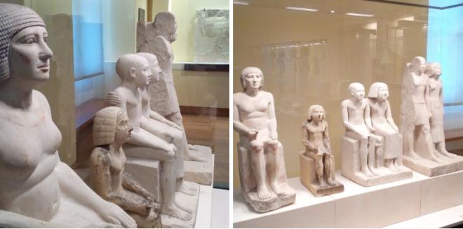 Statues Sepa et Nepa et personnages grandeur nature musée Charles X Louvre